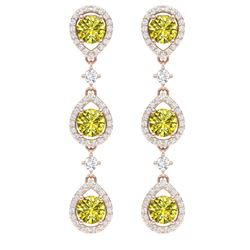 5.11 CTW Fancy Yellow SI Diamond Earrings 18K Rose Gold - REF-418H2W - 39103