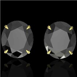 18 CTW Black VS/SI Diamond Certified Designer Stud Earrings 18K Yellow Gold - REF-381F8M - 21696