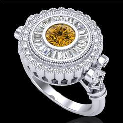 2.03 CTW Intense Fancy Yellow Diamond Engagement Art Deco Ring 18K White Gold - REF-245F5M - 37903