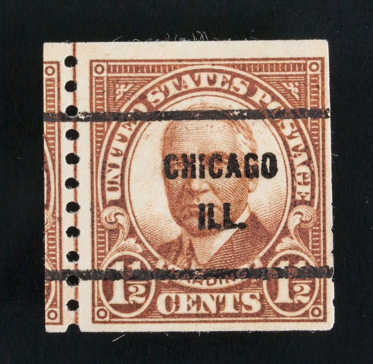 1930 US Harding 1 2 Cents Stamp Wrong Cut