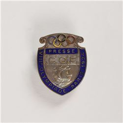 Paris 1924 Summer Olympics Press Badge