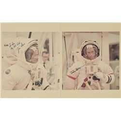Apollo 15 Pair of Signed Photographs and Patch