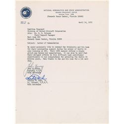 Apollo 16: Young and Duke Typed Letter Signed
