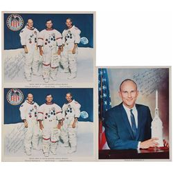 Apollo 16 Set of (3) Signed Photographs