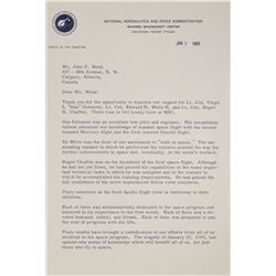 Apollo 1 Memorial Letter Signed by Gilruth