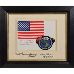 Apollo 7 Flown Flag Signed by Cunningham and Schirra