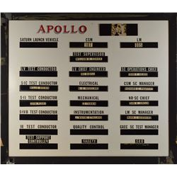 Apollo 11 Launch Control Center Assignment Board