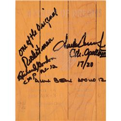 Apollo 12 Crew-Signed Houston Basketball Court Floor Piece
