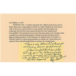 Edgar Mitchell Handwritten Note
