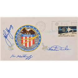Apollo 16 Crew-Signed Set of (3) Insurance Covers