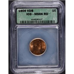 1909 VDB LINCOLN CENT, ICG MS-66 RD