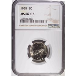 1938 JEFFERSON NICKEL, NGC MS-66 FULL STEPS