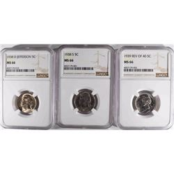 1938-S, 38-D & 39 REV OF 40  NICKELS, NGC MS-66