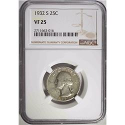 1932-S WASHINGTON QUARTER, NGC VF-25