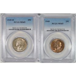 1949-P&D WASHINGTON QUARTERS, PCGS MS-65