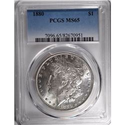 1880 MORGAN SILVER DOLLAR, PCGS MS-65