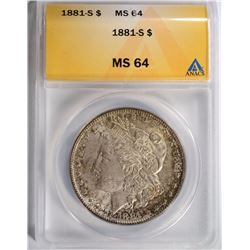 1881-S MORGAN SILVER DOLLAR, ANACS MS-64
