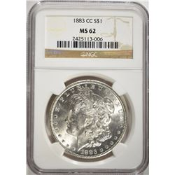 1883-CC MORGAN DOLLAR, NGC MS-62