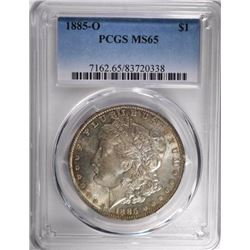 1885-O MORGAN SILVER DOLLAR, PCGS MS-65 -TONING