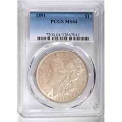 1891 MORGAN SILVER DOLLAR, PCGS MS-64