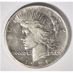 1921 PEACE SILVER DOLLAR, AU -KEY