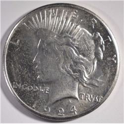 1924-S PEACE SILVER DOLLAR, AU SEMI-KEY