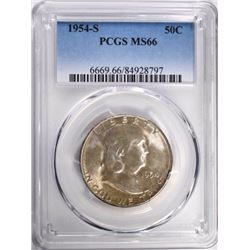 1954-S FRANKLIN HALF DOLLAR, PCGS MS-66