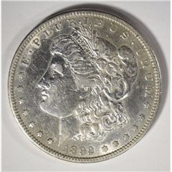 1892-S MORGAN SILVER DOLLAR, AU SCARCE SEMI KEY