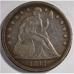 1868 SEATED LIBERTY DOLLAR XF-AU ORIGINAL, RARE!