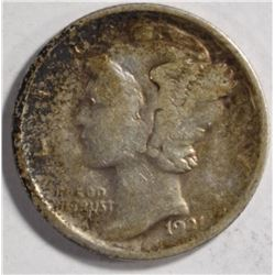 1921 MERCURY DIME XF ORIGINAL, KEY COIN