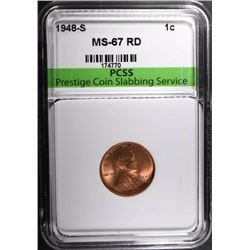 1948-S LINCOLN CENT, PCSS SUPERB GEM BU RED