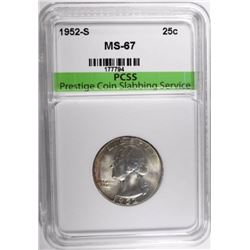 1952-S WASHINGTON QUARTER, PCSS SUPERB GEM BU