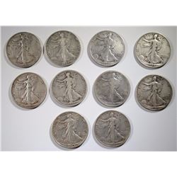 10 WALKING LIBERTY HALVES: DATES RANGE 1917-45-S