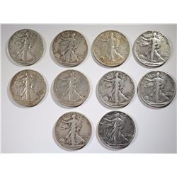 10 WALKING LIBERTY HALVES: DATES RANGE 1942-D-47-D
