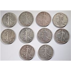 10 WALKING LIBERTY HALVES: DATES RANGE 1943-47