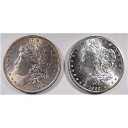1885 & 1902-O MORGAN DOLLARS CHOICE BU+