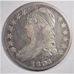 1808 CAPPED BUST HALF DOLLAR, VG/FINE