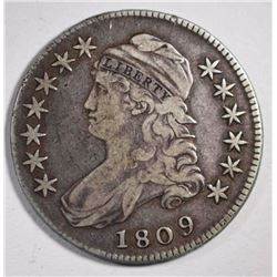 1809 CAPPED BUST HALF DOLLAR, F/VF