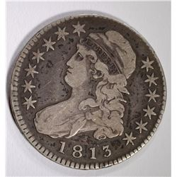 1813 CAPPED BUST HALF DOLLAR, FINE