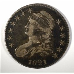 1821 CAPPED BUST HALF DOLLAR, VF