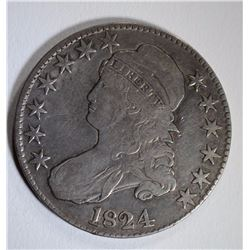 1824 CAPPED BUST HALF DOLLAR, F/VF