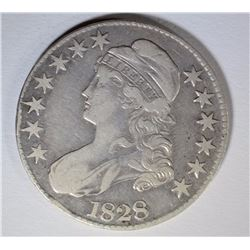 1828 CAPPED BUST HALF DOLLAR, VF