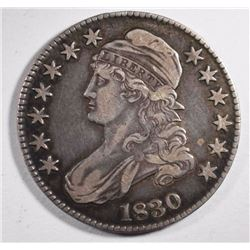 1830 CAPPPED BUST HALF DOLLAR, VF