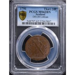 1791 SCOTLAND TOKEN 1/2D PCGS MS62BN RARE,