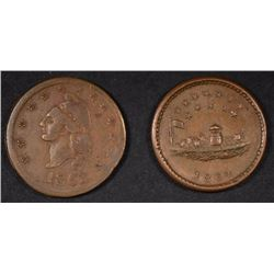OUR NAVY & I OU 1 CENT CIVIL WAR TOKENS