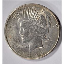 1923-S PEACE DOLLAR CHOICE BU+ NICE