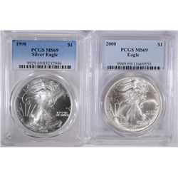 1998 & 2000 SILVER EAGLES, PCGS MS-69