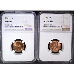 1934 NGC MS-65RD & 1946 NGC MS-66RD LINCOLN CENTS