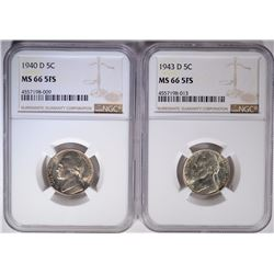 1940-D & 43-D JEFFERSON NICKELS, NGC MS-66 FS