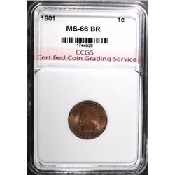 1901 INDIAN HEAD CENT, CCGS SUPERB GEM BU BR